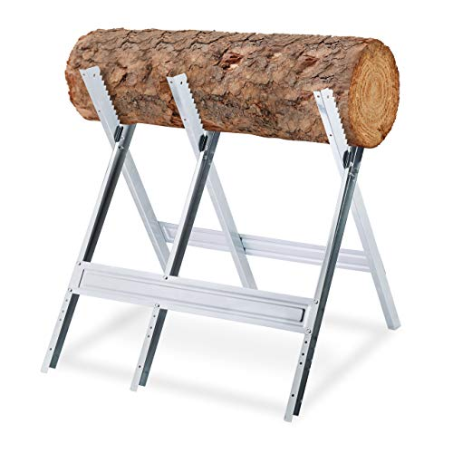 Relaxdays Sägebock, Holzsägearbeiten, klappbar, Sägegestell für Kettensägen, Stahl, H x B x T: 81 x 75,5 x 81 cm, silber