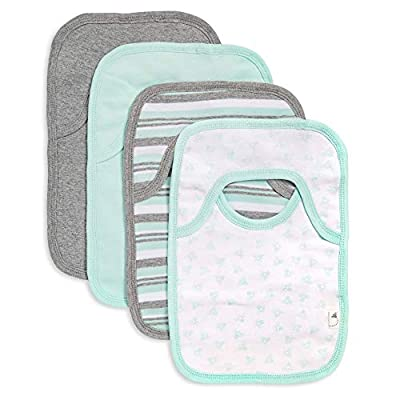 Burt's Bees Baby - Bibs, 4-Pack Lap-Shoulder Drool Cloths, 100% Organic Cotton with Absorbent Terry Towel Backing (Seaglass Green)