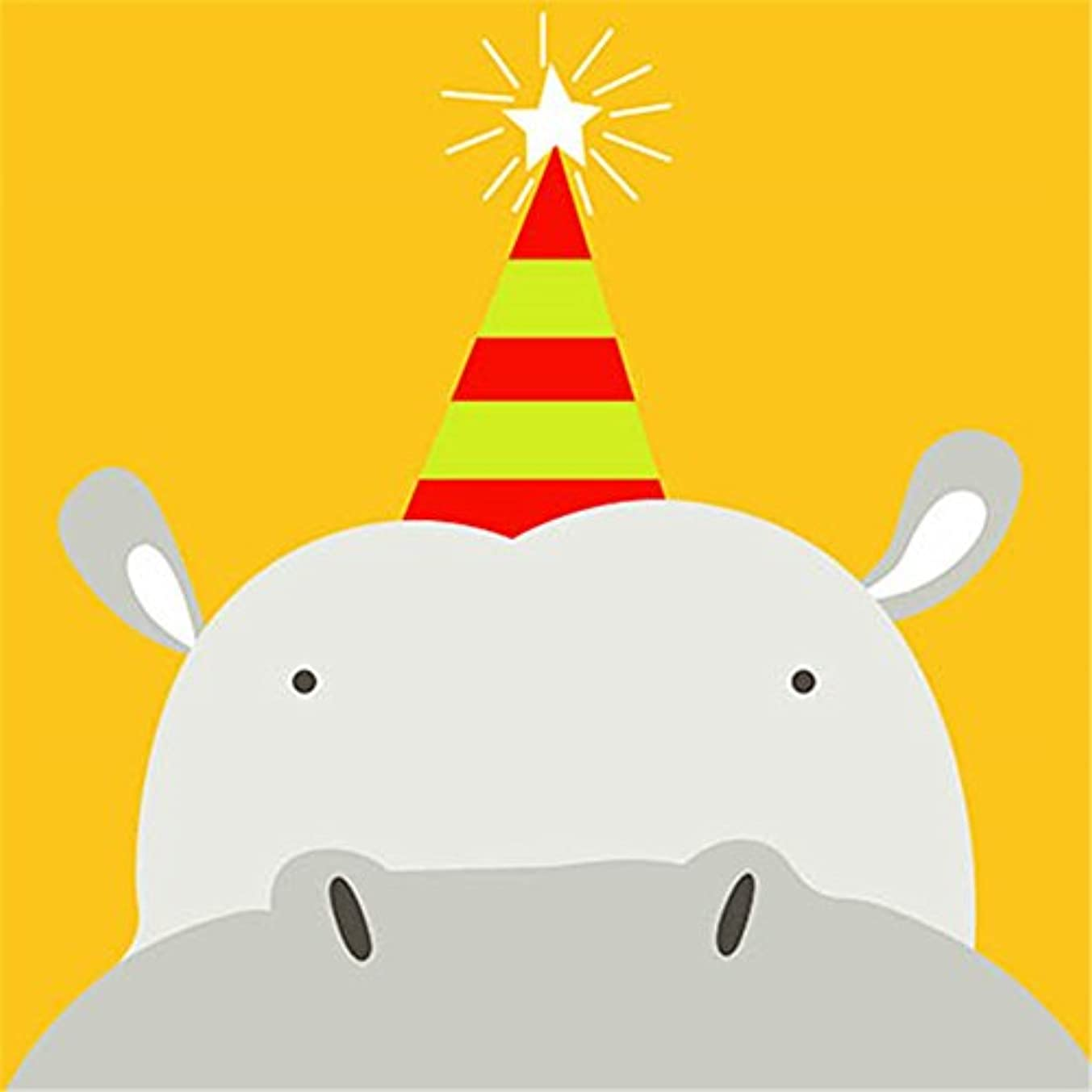 YEESAM ART New Paint by Numbers for Kids Children Beginner - Animal Hippo & Birthday Star Cap 8x8 inch Linen Canvas - DIY Number Painting (Hippo)