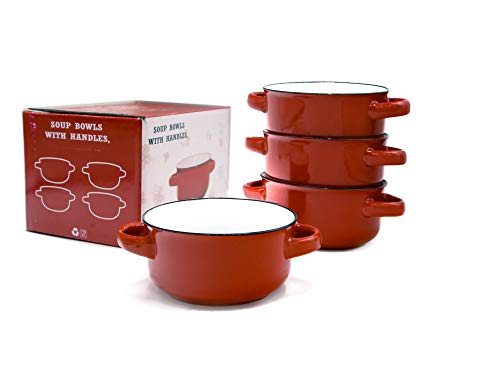 Baking Serving Ceramic Red 16 Oz Soup Bowls with Handles - Set of Four