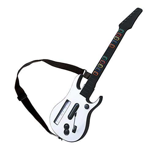 DOYO White Wii Guitar Wireless Hero and Rock Band Guitar Controller with Strap for Hero and Rock Band Games
