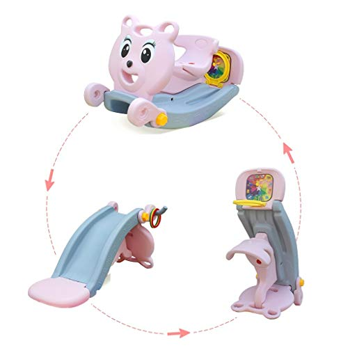 MOMFEI 5 in 1 Toddler Slide Rocking Toy, Portable Kids Rocking Horse Slide Toy with Basketball Hoop and Ring Game, Foldable Toddler Playground Slide Climber for Boys and Girls