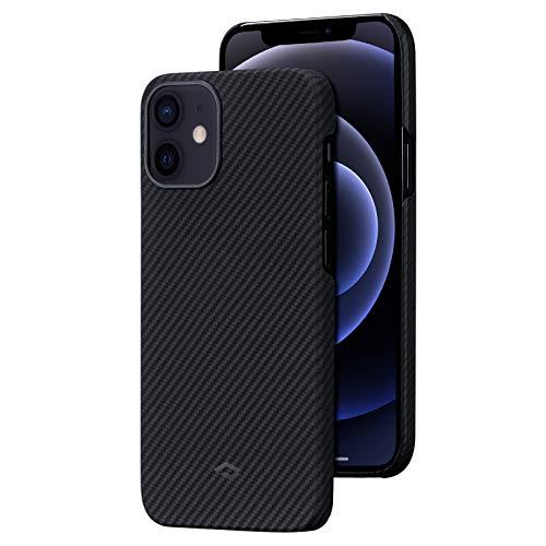 「PITAKA」Air Case iPhone 12 mini 対応 ケース 600Dアラミド繊維製 カーボン風 デザイン 極薄(0.65mm) 軽量(7g) 耐衝撃 保護 カバー ワイヤレス充電対応 ミニマリスト シンプル 5.4インチ(黒/グレーツイル柄)