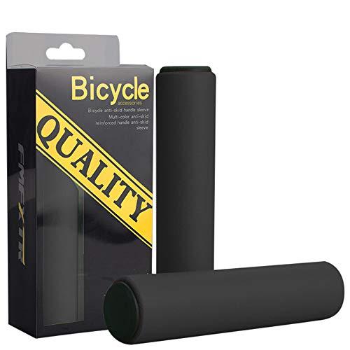 Sayla Fahrradgriffe, Fahrrad Griffe, Roller Lenkergriffe, Moosgummi Überzug/Schaumstoff oder Leder für Mountainbike, Trekkingrad, E-Bike, Crossbike (Schwarz)