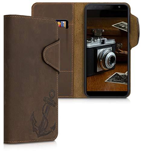 kalibri Wallet Hülle kompatibel mit Samsung Galaxy J6+ / J6 Plus DUOS - Hülle Leder - Handy Cover Handyhülle Anker Vintage Braun