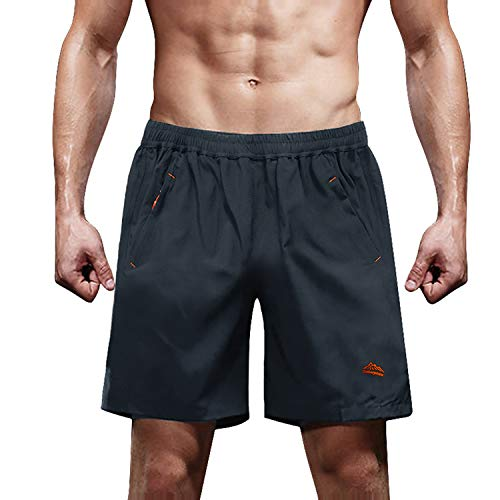 MAGCOMSEN Gym Shorts Men with Zipper Pockets Jogging Shorts Quick Dry Shorts for Men Camping Shorts Trekking Shorts Running Shorts Lightweight Shorts