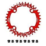 EASTERN POWER Plato Bicicleta Montaña, Plato 104 BCD 34 Dientes, Aluminio Platos 34T BCD 104 mm, Rojo