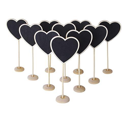 Homoyoyo 12 Piezas Mini Letreros de Pizarra con Soportes de Madera Rústica Tableros de Mensajes en Forma de Corazón Números de Mesa Tarjetas de Lugar para Bodas Cumpleaños Día de San