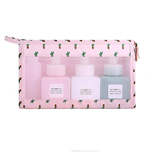 Ochilima Portable Cute Cosmetic Bags, Small Makeup Travel Bag for Girls Women Cactus Floral Pink with Mesh Pouch Cactus