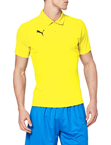 PUMA Liga Sideline Polo T-Shirt, Hombre, Cyber Yellow Black, XL