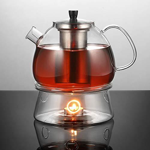 Ecooe 1500ml Teekanne mit Stövchen Teebereiter Glas und Teewärmer Teekanne Suit