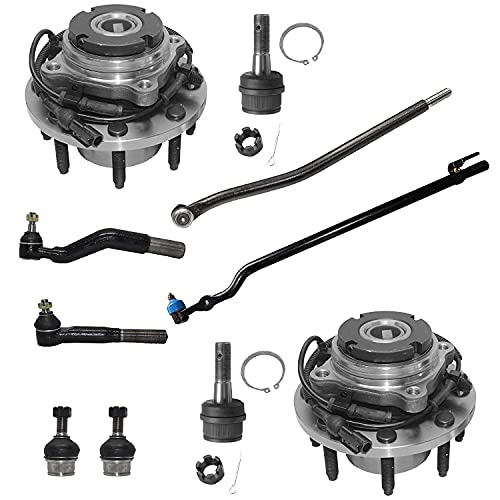 Detroit Axle - 4WD SRW Front Wheel Hub Bearing Ball Joints Inner and Outer Tie...