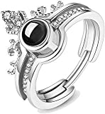 MEENAZ Jewellery Solitaire American Diamond Silver I Love You Ring 100 Languages Lovers