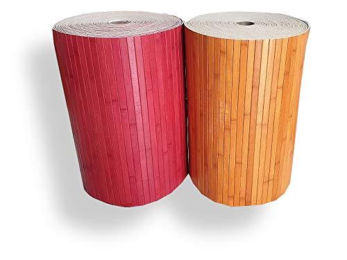 Tappeto Cucina Stuoia Passatoia Gommata Bamboo Naturale Antiscivolo 9Misure Tinta Unita RM (Rosso, 50x180)