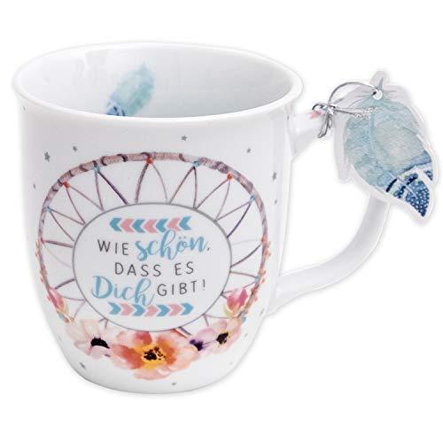 Die Geschenkewelt 45692 Tasse mit Motiv Traumfänger, mit Geschenk-Anhänger, Porzellan, 40 cl