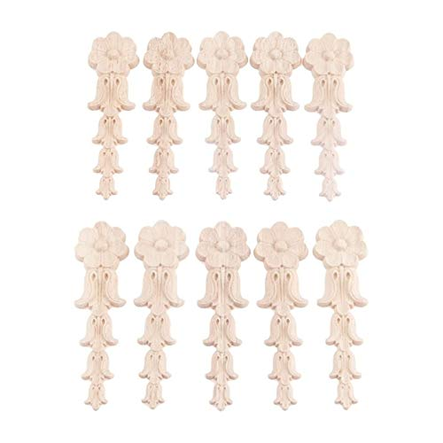 Youpin 10 apliques de madera para muebles de 13 x 3,5 cm, 5,12 x 1,38 pulgadas, calcomanía de esquina tallada de madera para paredes de cama, puertas