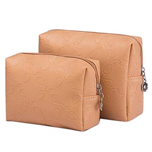 2 PCS Boîte à cosmétiques à la mode portative Sacs de maquillage Sac de rangement Kaki