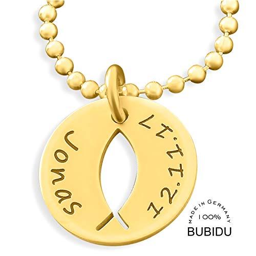 Namenskette 925 Silber goldkette mit Gravur ❤️ Taufkette Taufe Ichthys Taufefisch ❤️ Taufschmuck Kette Tauffisch Ichtys Baby Heilige Taufe Kinderschmuck | HANDMADE IN GERMANY