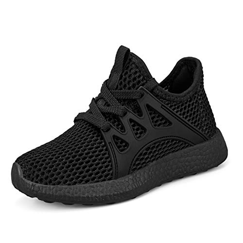 Sunnycree Kids Sneakers Ultra Breathable Mesh Lightweight Running Tennis Shoes for Boys Girls, Black, 13 Little Kid