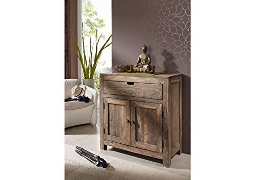 MASSIVMOEBEL24.DE Kommode Nature Grey, Sideboard klein aus Massivholz Sheesham grau geölt, Holzkommode mit Schublade und Fächern
