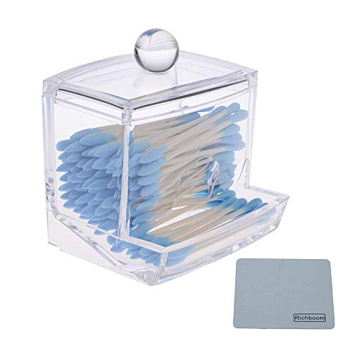 Richboom Clear Acrylic Q-Tips Cotton Swabs Holder Cotton Bud Storage Box - Cosmetic Organizer for Cotton Pads, Cotton Swabs, Q-Tips, Make Up Pads, Cosmetics - for Bathroom & Vanity