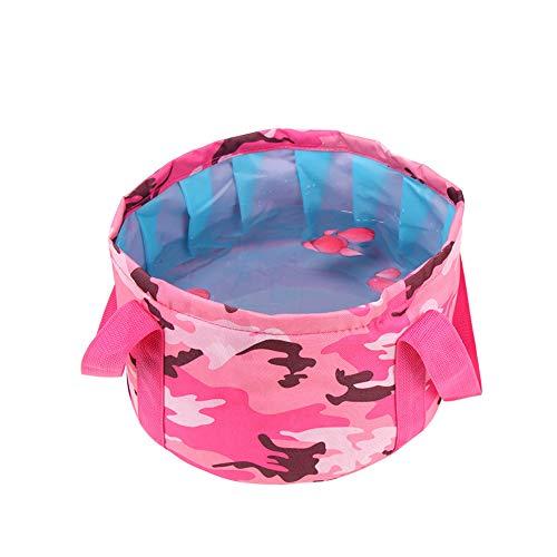 Cubo de agua plegable, cubo plegable de gran capacidad, color rosa, portátil,...