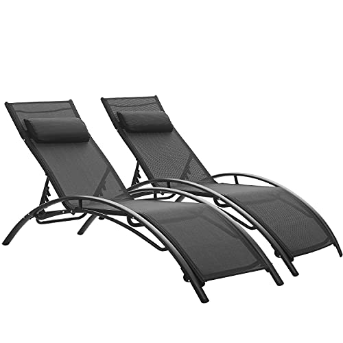 Adjustable Chaise Lounge Chairs Outdoor with Pillow, 2 PCS, Aluminum, Zero Gravity, Grey Blue Pink White (Black)