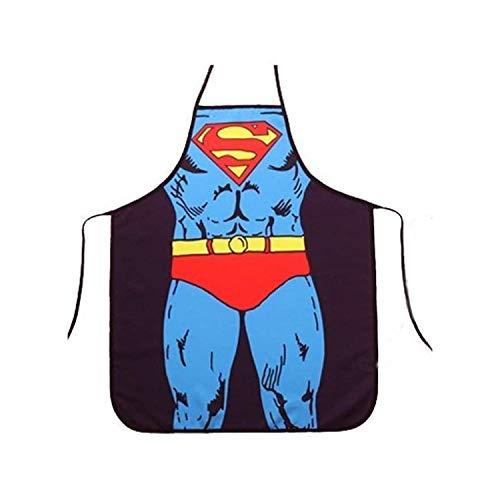 Jieddey Tablier de Cuisine Humoristique,Sexy Tablier de Nouveauté Drôle Superman Tabliers de Cuisine Mari et Femme Tabliers pour Homme Couple Barbecue Fête 28 * 21 Pouces