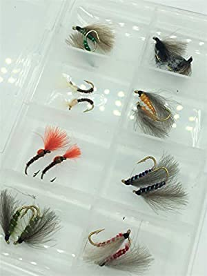 BestCity Fly Fishing Trout fishing CDC EMERGERS F FLY tied with CDC 16 Flies FREE FLY BOX sizes 10-14#317 from BestCity Tackle