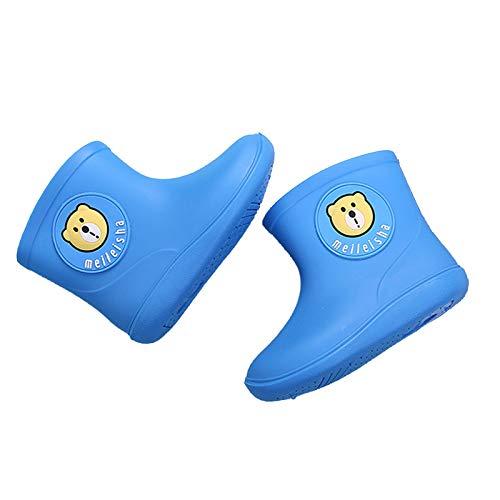 TinaDeer 1-6 Jahre alt Kinder Regenstiefel rutschfeste wasserdichte Gummistiefel Gummi Kinder Niedlich Cartoon Tierform Unisex Regenschuhe Lässig Im Freien (Blau, 18)