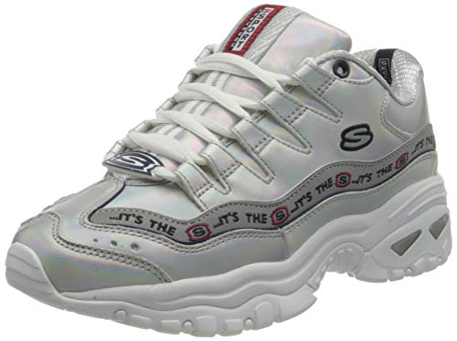 Skechers Energy Steel Wave Womens Trainers 'It's The S' Retro Shoes-Silver-35.5