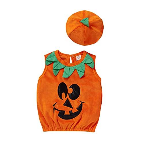 Newborn Toddler Kids Baby Boys Girls Halloween Cosplay Outfit Pumpkin Bodysuit Halloween Costumes Romper Tops with Hat (Costume , 4-5T )
