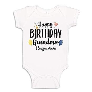 The Shirt Den Happy Birthday Grandma Baby Bodysuit Infant One Piece 6 mo White