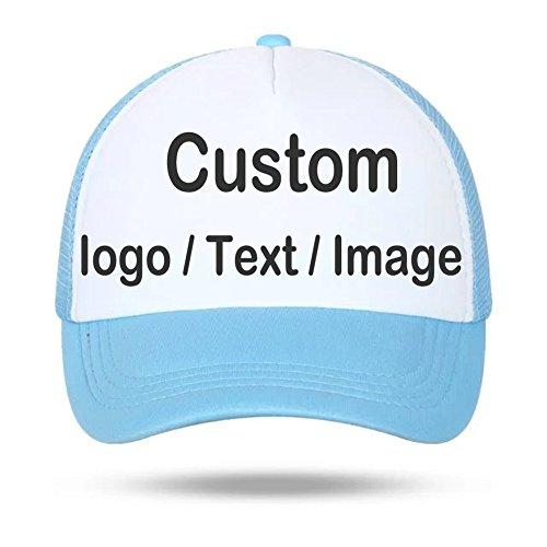 Gorra tipo béisbol con diseño de media malla, ideal para deportes, viajes, vacaciones y la playa (personalizable), azul celeste