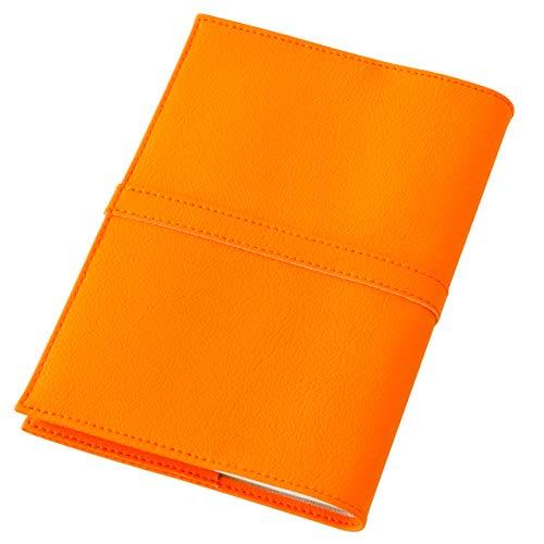 TEES FACTORY 国産 PVC レザー ブック カバー SION 御朱印帳(大)判 しおり付き オレンジ 合成皮革