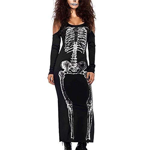 Disfraz de Halloween para mujer Scary Skeleton Skeleton 1 pieza Vestido de manga larga Negro Talla L