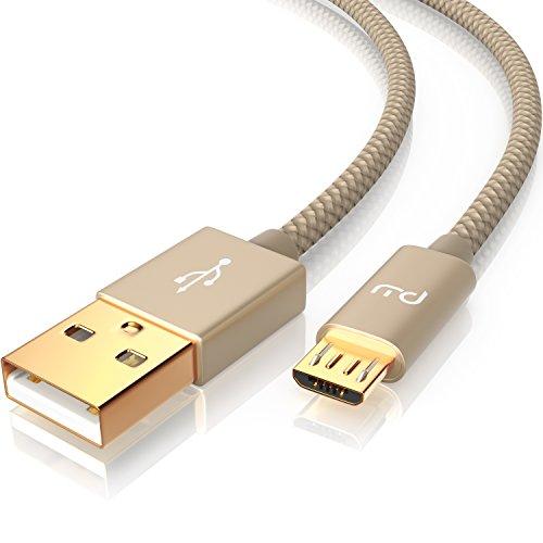 CSL- Primewire - 2m Micro USB Kabel - 2,4A Schnellladekabel - Nylonkabel Metallstecker - High Speed Ladekabel für Android Smartphones Samsung Galaxy HTC Huawei Sony Nexus Nokia Kindle