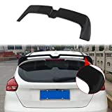 NINTE Roof Spoiler for 2012-2018 Ford Focus SE/SEL/Titanium Hatchback Model - ABS Chrome Painted Gloss Black Rear Window Wing
