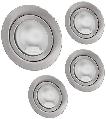 Pack de 4 focos empotrables Superslim G4 12 V – Metal cepillado – Cabe en caja de 60 – con cubierta de cristal mate – montaje Ø 60 mm – 21 mm de profundidad