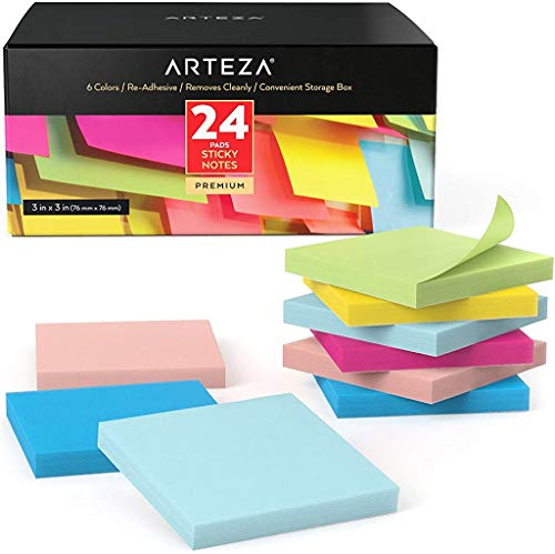 Arteza Notas adhesivas 76 mm x 76 mm   24 tacos de 100 hojas   Paquete de posits de colores surtidos   Reutilizables sin dejar marca   para la oficina y el hogar