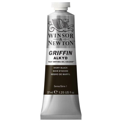 Winsor & Newton 1914331 Griffin Alkyd schnell trocknende Ölfarbe 37ml Tube, hergestellt aus hochwertigen Pigmenten, Lichtecht - Elfenbeinschwarz