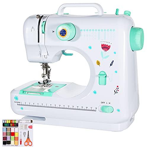 Machine à coudre,Machine à coudre électrique,Petite machine à coudre,12 points 2 vitesses avec pédale Parfait pour les débutants Produits de couture faciles, avec kit de couture