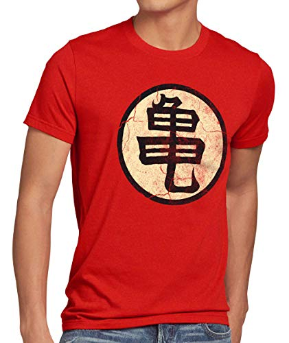 style3 Goku Ecole de Tortue Roshi T-Shirt Homme, Taille:S;Couleur:Rouge