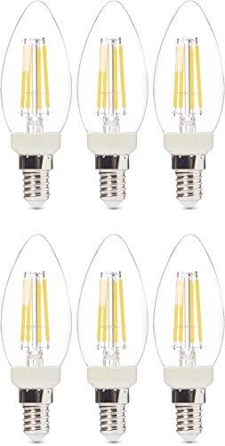 AmazonBasics Professional Lot de 6 ampoules LED Culot Edison à vis E14 Équivaut à 40W À filament en verre transparent Intensité variable