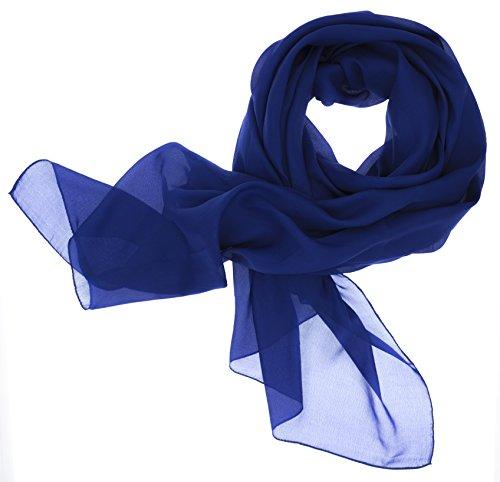DOLCE ABBRACCIO by RiemTEX ® Schal Damen LADY SUNSHINE Seidentuch Tücher mit hohem Seidenanteil Pashmina Stola Tuch in sattem Blau Halstuch Kopftuch Damen Seidenschal Elegante Schals (Royalblau)
