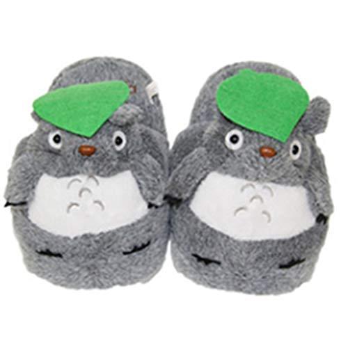 Acogedoras lindas chinchillas de dibujos animados, medias pantuflas de algodón, cómodas zapatillas de felpa para interiores, cálidas, otoño e invierno, parejas, zapatos caseros, un par-grey-OneSiz