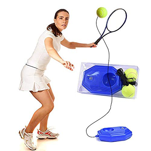 ZXCV - Herramienta de entrenamiento de tenis con base elástica para entrenamiento de pelota, color azul, tamaño L