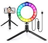 Maquillage Ringlight Selfie RGB Rainbow Circle-light trépied photographie Portable Desktop LED la lumière pour l'éclairage Vidéos passionnées Enregistrement Live-Streaming Maquilleurs Vlogger