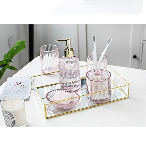 Dispensador de loción Accesorios de baño de juego de 5 piezas de cerámica de baño cepillo de dientes Copa Suministros dispensador de jabón entrada de la taza del regalo de boda set de lavado Bomba de