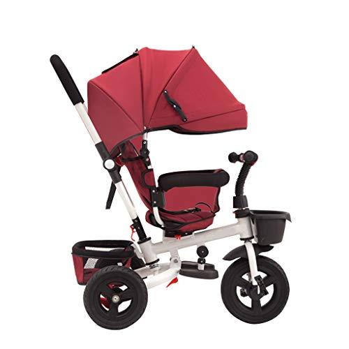 GYF Bambina Pieghevole Parasole Triciclo,con Maniglione 2 in 1 Passeggino Triciclo Ragazzo per Esterni Triciclo Grigio Porpora Rosso Arancio ( Color : Red )